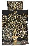 GOEBEL Satin-Bettwäsche nach Gustav Klimt 'Lebensbaum' 135x200 cm + 80x80 cm, schwarz gold