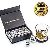 Exklusives Edelstahl Whisky Steine Geschenkset – Hohe Kühltechnologie - Wiederverwendbare Whiskey Eiswürfel – 8 Whisky Rocks – Whiskey Geschenkset mit Untersetzer + Edelstahlzange von Amerigo