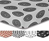 DecoKing Premium 93801 180x200 cm Spannbettlaken Steg 30 cm weiß schwarz grau Spannbetttuch Microfaser Bettwäschegarnituren Black White Hypnosis Collection Fossil 1