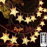 AIZESI 50 led Lichterkette Sterne Batterie Innen,Weihnachts-Innenbeleuchtung Lichterkette Draht Batterie mit Fernbedienung für Kinderzimmer Balkon Garten,Hochzeiten Festival Party(Warmweiß)