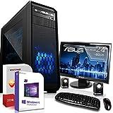 Gaming PC Komplett Set/Multimedia Computer inkl. Windows 10 Pro 64-Bit! - AMD Quad-Core A10-7800 4 x 3,9 GHz - AMD Radeon R7-8GB DDR3 RAM - 120GB SSD + 1000GB HDD - ASUS 24-Zoll TFT Monitor - 24-f
