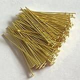 Prismenstifte 0,8 x 45mm goldfarben 100 Stück Großkopf 2,8mm - Kettelstifte - Nietstifte - Schmuckstifte - Bastelbedarf - Messingdraht