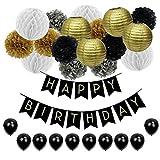 JUSLIN 28 Geburtstag Party Dekoration mit Seidenpapier Pompoms Papier Laternen Wabenball Latexballons Happy Birthday Wimpelkette Banner für Geburtstagsfeier, Schwarz, Gold und Silber