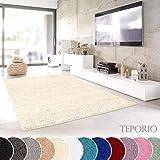 Teporio Shaggy-Teppich | Flauschiger Hochflor fürs Wohnzimmer, Schlafzimmer oder Kinderzimmer | Einfarbig, schadstoffgeprüft, allergikergeeignet in Farbe: Creme; Größe: 40 x 60 cm