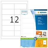 Herma 4623 Universal Etiketten (96,5 x 42,3 mm) weiß, 2.400 Aufkleber, 200 Blatt DIN A4 Premium Papier matt, bedruckbar, selbstklebend