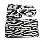 WPY Zebra-Muster Toilette dreiteiliger Teppich Wärmeübertragung Korallenfleece 3-teiliges Bad absorbierende Anti-Rutsch-Matte
