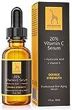 Natürliches Vitamin C Serum - FREI VON Parabenen, Silikonen, Parfümen, PEGs, Hormonen - 30 ml Hochdosiert - Vitamin C Serum inkl. Hyaluronsäure und Vitamin E
