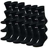 PUMA Unisex Crew Socks Socken Sportsocken MIT FROTTEESOHLE 18er Pack (Black, 43-46)