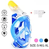 Schnorchel Maske 180° Grad Panorama – Vollgesichts- Frei Atmen- Design-Schnorchel Maske Tauchmaske - MEHR Anti-Antibeschlag und Anti-Leck - 2 eingebaute Atemschläuche - Eingebaute Ohrstöpsel (Blue, S-M)
