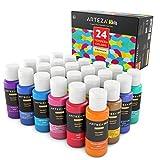 ARTEZA Kids Temperafarbe | 24 Auswaschbare Bastelfarben in 60 ml Tuben | Verschiedene Glitter, Metallic & Neon Farben | Ideal für Schule, Malen und Basteln