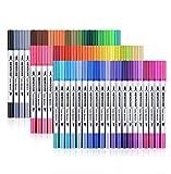 Newdoer farbiger Dual-Pinsel-Stift, inklusive 2 mm Pinselspitze und 0,4 mm feiner Spitze zum Zeichnen, Sketchen, Malen und zum Kreieren von Wasserfarbeneffekten, 60-pack