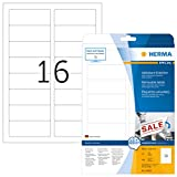 HERMA 10009 Universal Etiketten DIN A4 ablösbar (88,9 x 33,8 mm, 25 Blatt, Papier, matt) selbstklebend, bedruckbar, abziehbare und wieder haftende Adressaufkleber, 400 Klebeetiketten, weiß