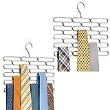 mDesign 2er-Set Krawattenhalter - edler Krawattenbügel für mindestens 23 Krawatten - Kleiderschrankzubehör für platzsparende Krawattenaufbewahrung - silberfarben