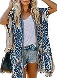 Happy Sailed Damen Kurzarm Druck Strand Kimono Strand Cardigan Strand Jacke OneSize (One Size, 1 Blau)