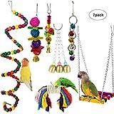 MQUPIN Vogelspielzeug, Kauspielzeug und buntes Schaukelspielzeug, Glocke hängende Glocken, hängende Holz-Hängematte, dekoratives Zubehör für Sittiche, Papageien und Vögel