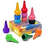 WATSABRO Kleinkinder Wachsmalstifte 12 Farben Baby Crayon Stapelbares Handflächengriff Wachsmalstifte Sicherheit und Ungiftig Kinder Malstifte Spielzeug für Baby Kleinkind und Kinder