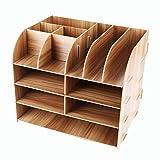 Schreibtischorganizer Holz, Lesfit Tisch Organizer Büro Fernbedienung Box Organisation Aufbewahrungsbox Schreibtisch Kinder (Braun)