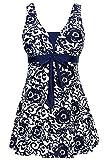 AMAGGIGO Amenxi Damen Kirschen Cherry/Blau-Weiß Einteiliger Spitze Figuroptimizer Sportlich Neckholder Retro Vintage Damen Badeanzug (EU 46, darkblue)