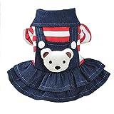 Tonsee Hund Welpen Kleid, Herbst Winter Cute Kleidung Doggy Kostüme Denim Kleider Warme Streifen T-Shirt Strap Rock (XS, Rot)