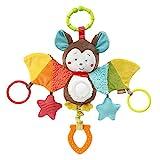 Fehn 067712 Activity-Spieltier Fledermaus / Motorikspielzeug zum Aufhängen mit Spiegel & Ringen zum Beißen, Greifen und Geräusche erzeugen / Für Babys und Kleinkinder ab 0+ Monaten