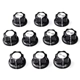 KUNSE 10Pcs Nonslip Potentiometer Rotary Control Knobs 6Mm 12Mm Top Black Silver Tone Shift Knob