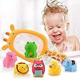 Queta 7 Stück Badespielzeug, Badewannenspielzeug Wasserspielzeug Wasserspaß für Kinder mit 1 Fischernetz und 6 Meerestiere