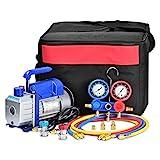 GCSJ 3CFM Einstufige Vakuumpumpe (3CFM,1/4HP) für HVAC/Auto AC Kältemittelaufladung, Vakuumpumpe Klimaanlage, Manifold Gauge Set Auto Klimaanlage Für R134A R12 R22 R502