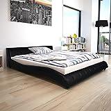vidaXL Polsterbett Kunstlederbett Doppelbett Bettgestell mit Matratze 160x200cm
