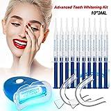 Teeth Whitening Kit Dental Bleaching Professionelle Zahnaufhellung-10x 3ML Whitening GEL, 2x Mouth Trays, 1x LED Light, 1x Lab Dip and 5x Free Teeth Wipe, MEHRWEG