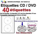 20 Blatt 2 CD/DVD-Etiketten Adhesives Klebe Durchmesser 117 mm Platten Laserdrucker und Tintenstrahldrucker Etiketten