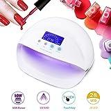 50W Nageltrockner, 28 UV/LED Lampe Nagellampe, UV Lichthärtungsgerät mit Sensor 30s/60s/90s/Keep On, LCD Display, Trocknung von Gelnägel und Zehennägel(Weiß) -Duomishu