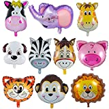 LAKIND Folienballon Tiere 10-Pack Tierballons Tier Ballons Luftballons Kindergeburtstag - Helium ist Erlaubt, Perfekt für Kinder Geburtstag Party Dekoration(10-Pack)