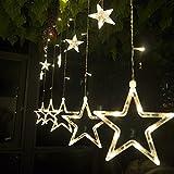 Salcar - LED Lichterkette mit LED Kugel 12 Sterne 138 Leuchtioden Lichtervorhang Sternenvorhang 8 Modi Innen & Außenlichterkette Wasserdicht dekoration für Weihnachten Deko Party Festen -- Warmweiß