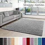 Shaggy-Teppich | Flauschiger Hochflor für Wohnzimmer, Schlafzimmer, Kinderzimmer oder Flur Läufer | einfarbig, schadstoffgeprüft, allergikergeeignet | Grau - 300 x 400 cm