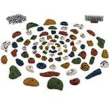 80 Klettergriffe im Starterset, Schrauben und 250 Einschlagmuttern inklusive, Farbe:bunt