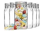 Bormioli Fido Gläser mit Bügelverschluss 6 teilig | Füllmenge 1,5 L | Luftdichte Konservierung durch den Gummiring sowie den Drahtbügelverschluss