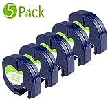 5x kompatibel Papier Etikettenband (Modell S0721520 10697 91220 91200) für Dymo LetraTag (LT) QX50 XR LT-100H LT-100T / schwarz auf weiß / 12mm x 4m