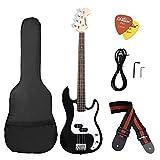 Ammoon elektrische Bassgitarre, Massivholz, PB Style, Lindenholz-Körper, Palisander, mit Tasche, und Gurt, Tonabnehmer, Kabel schwarz