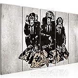Bilder Banksy Street Art Affen Wandbild 150 x 60 cm Vlies - Leinwand Bild XXL Format Wandbilder Wohnzimmer Wohnung Deko Kunstdrucke Weiß 5 Teilig MADE IN GERMANY Fertig zum Aufhängen 303456b