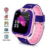Kinder Smartwatch, Smart Watch Phone mit Musik-Player, SOS, 1,44 Zoll LCD-Touchscreen-Uhr mit Digitalkamera, Spielen, Wecker für Jungen und Mädchen (Rosa)