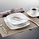 Malacasa, Serie Julia, KLEIN Tafelservice 60-teilig Kombiservice Kaffeeservice Porzellan Geschirrset mit je 12 Kaffeetassen, 12 Untertassen, 12 Dessertteller, 12 Suppenteller und 12 Speiseteller für 12 Person