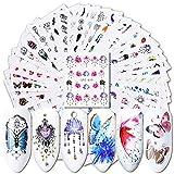 AchidistviQ Nagelsticker, Wasserzeichen, Blumen, Schmetterlinge, 40 Stück Multi