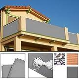 Deuba Windschutz 5m Sichtschutz Balkonbespannung Balkonumspannung Balkonsichtschutz | Einfache Montage | Waschbar | 500cm x 90 cm Betonoptik