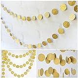jijAcraft Gold Kreis Banner Girlande,8 M/26 Füße Glitter Papier Banner, hängende Wand Dekoration Bunting, Hochzeit Geburtstag Party Baby Shower Weihnachtsdekoration Banner