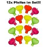 12x Pfeife Signalpfeife Herz Kinder Geburtstag Mitgebsel Tombola Party JGA Feier