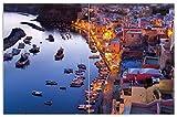 Wallario Herdabdeckplatte/Spritzschutz aus Glas, 2-teilig, 80x52cm, für Ceran- und Induktionsherde, Motiv Hafen bei Nacht - Italien hell erleuchtet