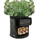 2 Stück Pflanztaschen Pflanzsack 34 x 35cm Kartoffel-Pflanzsack mit Belüftung, Stofftaschen, Kartoffelpflanztaschen mit Lasche, für Gemüse, Kartoffeln, Karotten und Zwiebeln