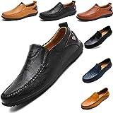 LSGEGO Herren Mokkasins Slip on Casual Männer Loafers Frühling und Herbst Herren Mokassins Schuhe aus echtem Leder Herren (40, Black-1)