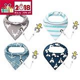 4er Baby Dreieckstuch Lätzchen Spucktuch Halstücher mit Schnullerkette und Verstellbaren Druckknöpfen Multifunctional, Super Absorbent & Soft Baumwoll , von Future Founder (Mehrfarbig 3)