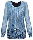 BAISHENGGT Damen Langarmshirt Rundhals Falten Shirt Stretch Tunika Hell-Blau S